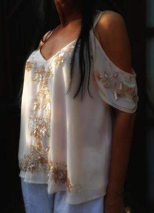 Блуза с пайетками цветами нюдовая вечерняя нарядная с открытым...