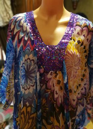 Сверкающая туника блуза с пайетками принт цветы ленты пляжная ...