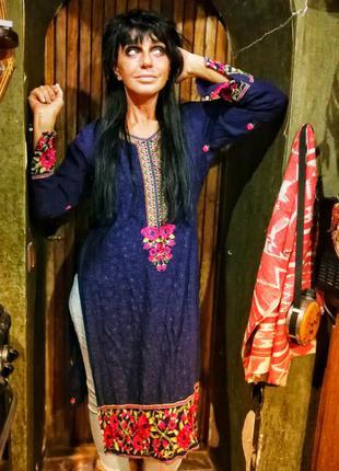 Индия платье туника с вышивкой цветы орнамент в индийском стиле