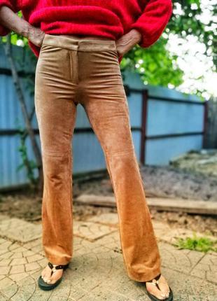 Брюки штаны под замшу замшевые h&m стрейч стрейчевые прямые вы...