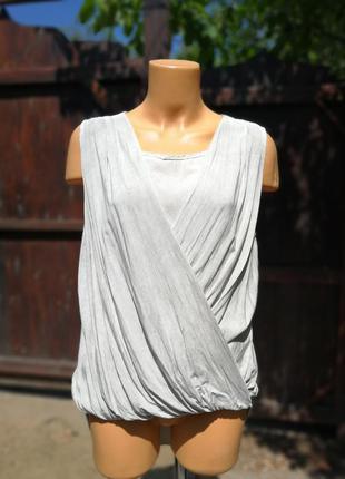 Isay майка топ блуза с кружевом на запах драпировка хлопок