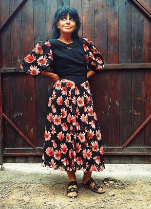 Ретро платье в принт цветы шёлк пышное длинное