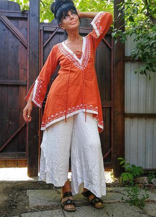 Туника с вышивкой кружевом salty skin коттон хлопок блуза