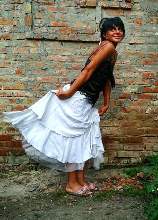 Льняная юбка с вискозой лен пышная длинная с фатином аппликаци...