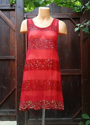 Платье туника пляжная полупрозрачная в полоску с пайетками all...