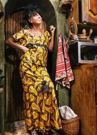 Костюм юбка блуза длинная в принт золотистая рыбка вечерний на...