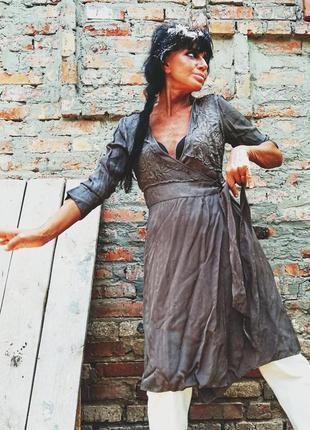 Платье из вискозы люкс night birger mikkelsen с вышивкой на за...
