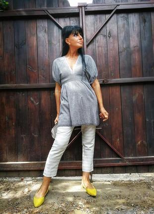 Серебристое платье туника с люрексом мини короткое atmosphere