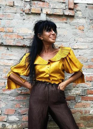 Невероятная винтажная блуза плиссированная воротник винтаж ретро