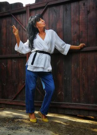 Кимоно блуза рубашка h&m коттон хлопок в рубчик с поясом на запах