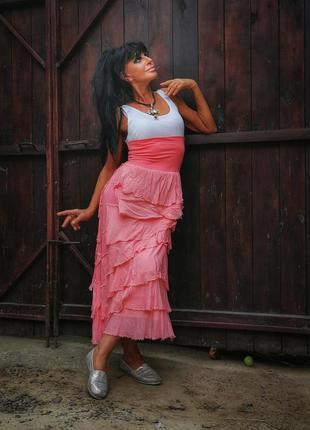 Италия. юбка из вискозы шёлка нюдовая длинная с рюшами