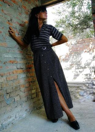 Эффектная юбка с люрексом поясом длинная трикотажная трикотаж