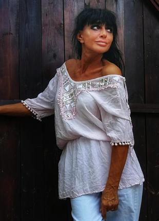 Италия. вискоза блуза с пайетками кружевом открытыми плечами с...
