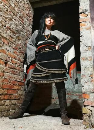 Вельветовая юбка в бохо стиле с рюшами миди вельвет