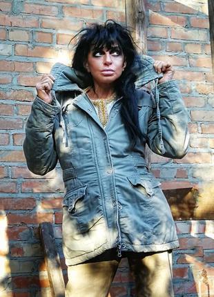 Куртка с капюшоном на синтепоне искусственным мехом cas демисе...