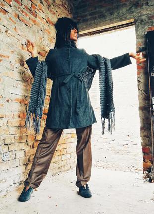 Пальто полушерстяное savage шерсть с поясом миди воротник стойка