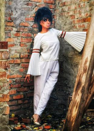 Невероятная блуза с плиссированными рукавами в полоску birgitt...