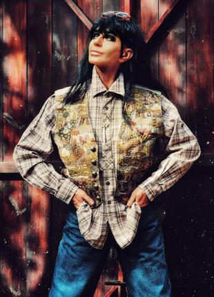 Рубашка с вышивкой в клетку коттон хлопок roger kent винтаж