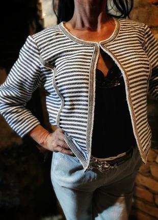 Жакет в полоску пиджак freequent с бахромой