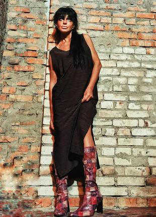 Платье макси длинное с разрезами трикотаж