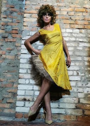 Платье миди с фатином ретро 60-е расклешенное вечернее сатин