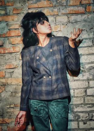 Шерстяной пиджак винтаж жакет блейзер шерсть в клетку maribell...