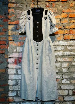 Платье в этно бохо стиле коттон хлопок рукав фонарик миди
