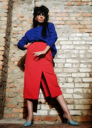 Шерстяная винтажная юбка миди карандаш с разрезами винтаж