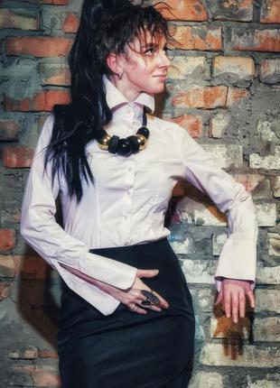 Нюдовая стрейч рубашка коттон хлопок hawes & curtis под запонки