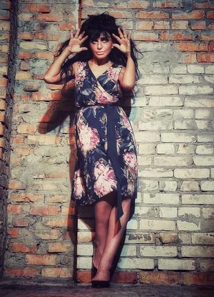 Платье с фатином миди в принт розы вечернее коттон хлопок на з...