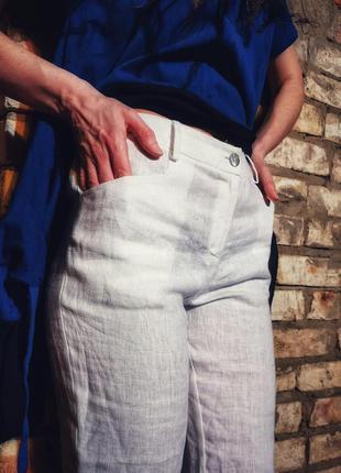 Льняные штаны naturalmente брюки высокая талия посадка прямые лен