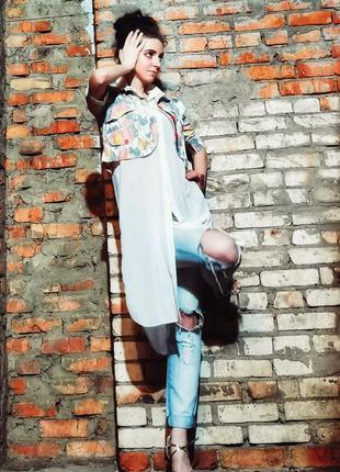 Блуза туника полупрозрачная рубашка