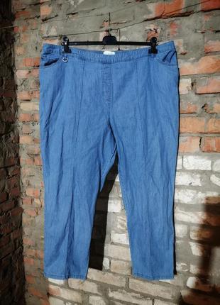 Джинсы батал большого размера на резинке штаны брюки высокая т...