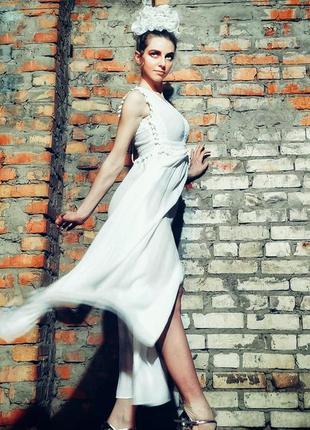 Платье сарафан из вискозы коттон с кружевом бахромой разрезами...