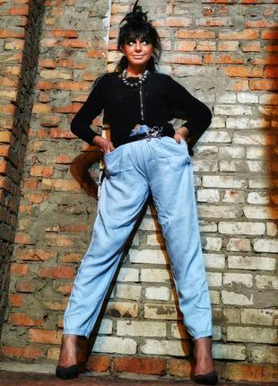 Брюки из лиоцелла вискозы штаны летние на резинке прямые высок...