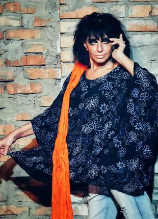 Льняная блуза туника в принт цветы лен