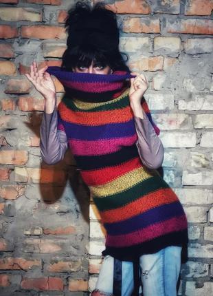 Шерстяная безрукавка жилетка туника в полоску свитер шерсть
