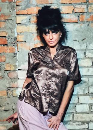 Атласная блуза рубашка атлас в узор цветы marks&spenser тауп