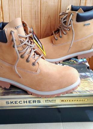 Новые кожаные водонепроницаемые утеплённые ботинки skechers ti...
