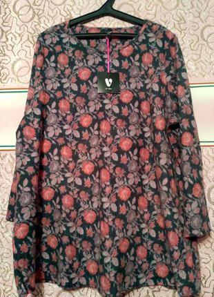 Свитер туника в цветы  большого размера 22-24 размер