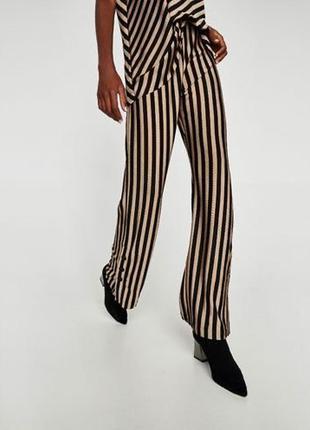 Полосатые широкие брюки кюлоты  zara