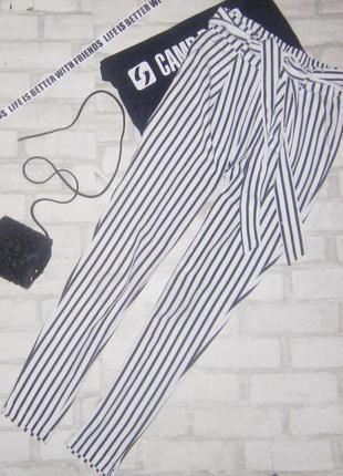 Бобмезные брюки ,высокая посадка с поясом, принт полоска