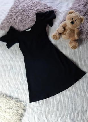 Стрейчивое платье с открытыми плечами lost ink