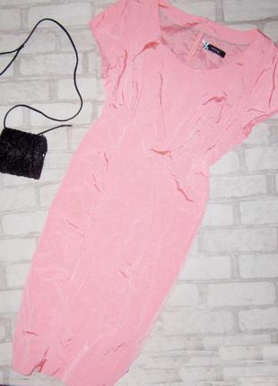 Обалденное миди платье силуэт, неоново пудрового цвета