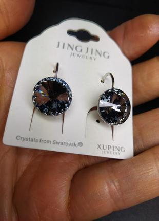 """Серьги """"black diamond"""" с кристаллами сваровски swarovski d.11m..."""