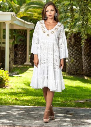 Шикарное платье туника из хлопка прошвы с кружевом индиано 1193