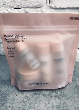 Набор миниатюр moistfull collagen skin care 4 kit, корейская к...