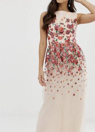шикарное вечернее макси платье в пол с вышивкой фатин Chi chi