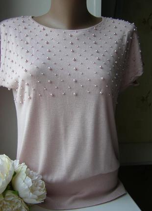 H&m актуальная кофта блуза с жемчугом вискоза-шелк пудра s-размер