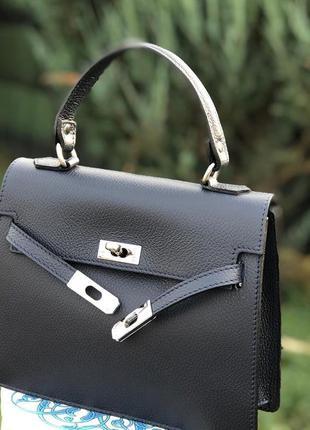 Синяя кожаная сумка италия